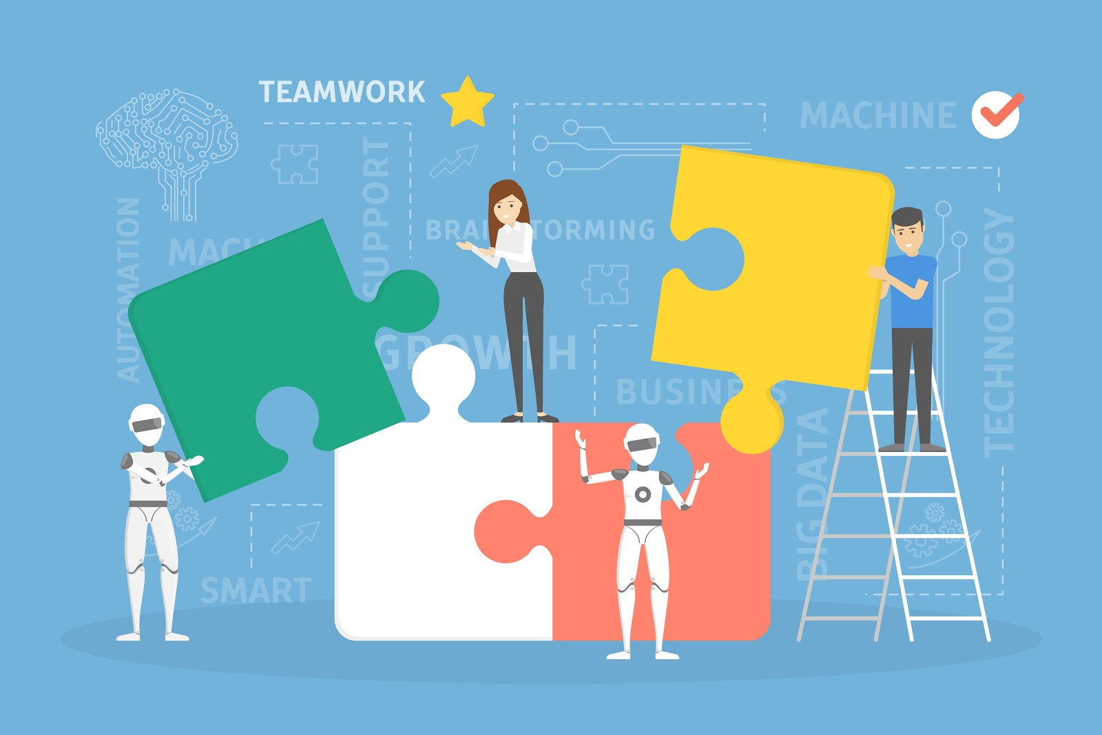 Graphic showing teamwork of people and robots putting together some puzzle pieces