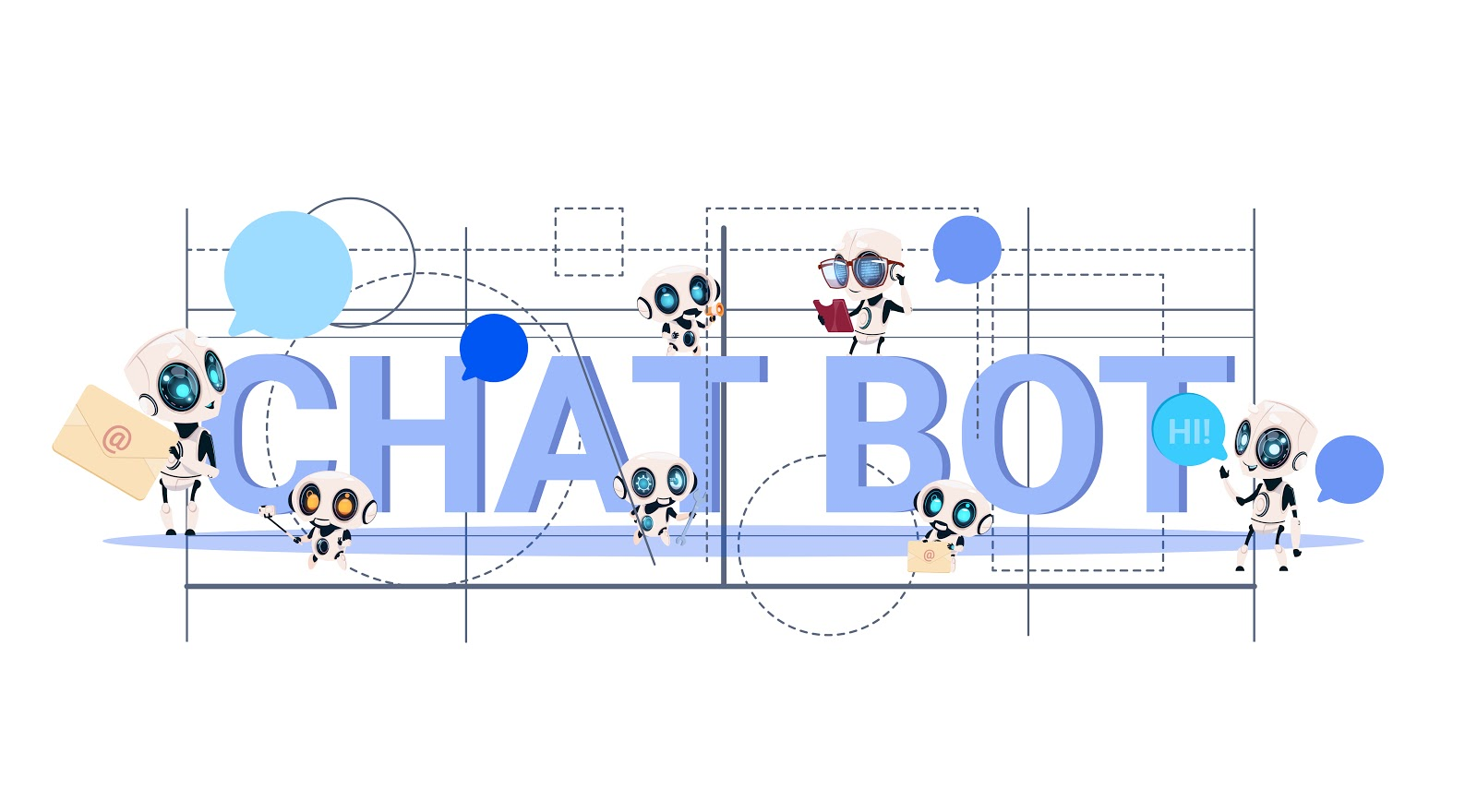 "Graphic with text ""chatbot"", geometric shapes, lines, and several robot like figures"
