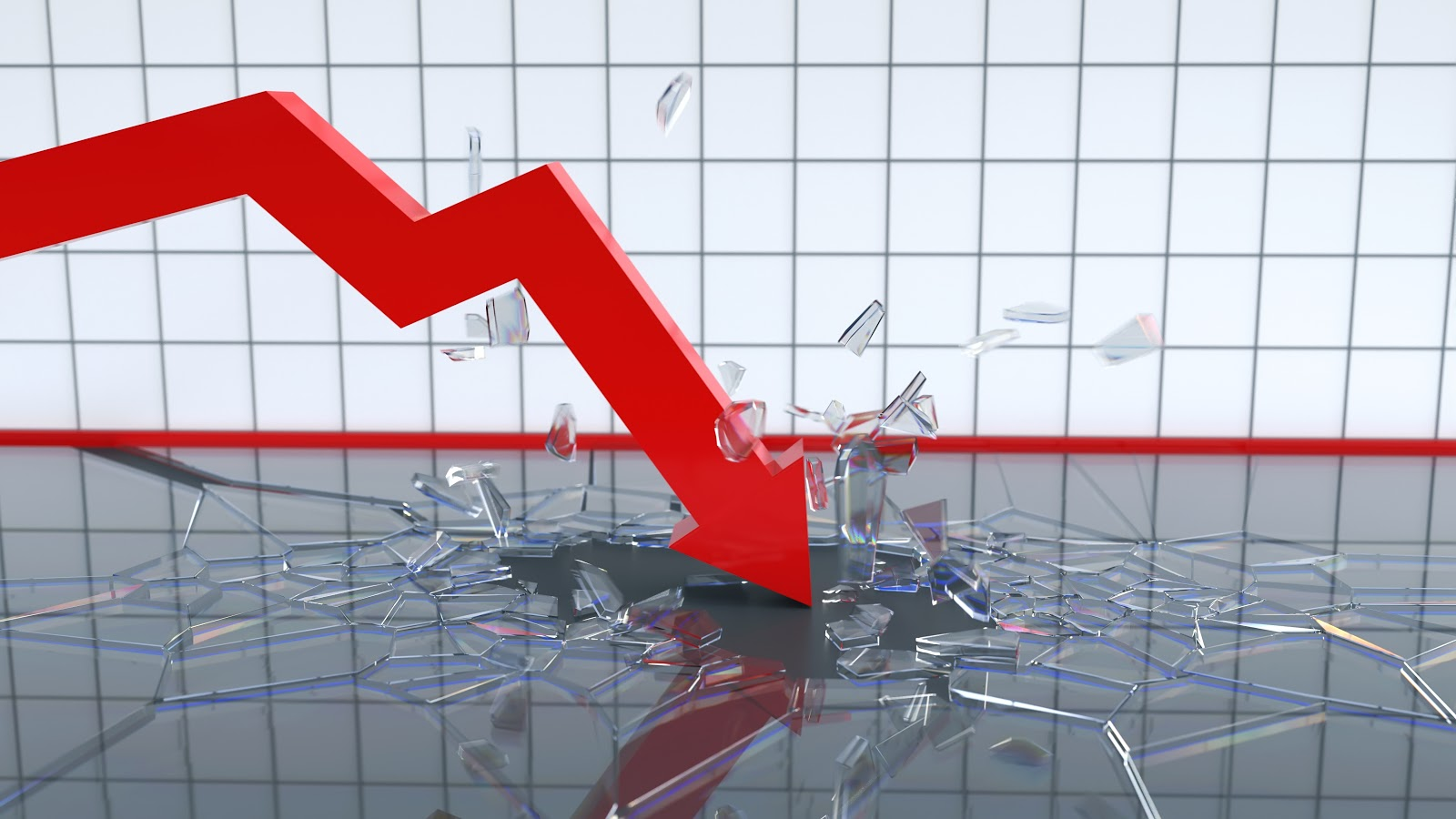 Picture with line graph crashing through glass floor