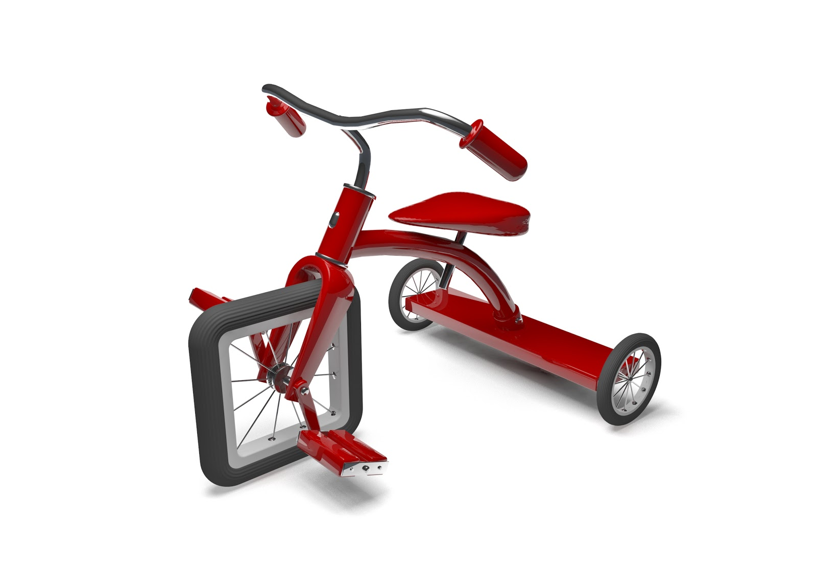 Red tricycle with a square front wheel, illustrating a perfect employee has drawbacks or flaws too
