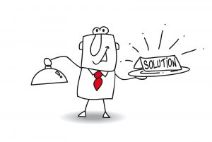 "Cartoon waiter in red tie serving a nameplate with text ""solution"""