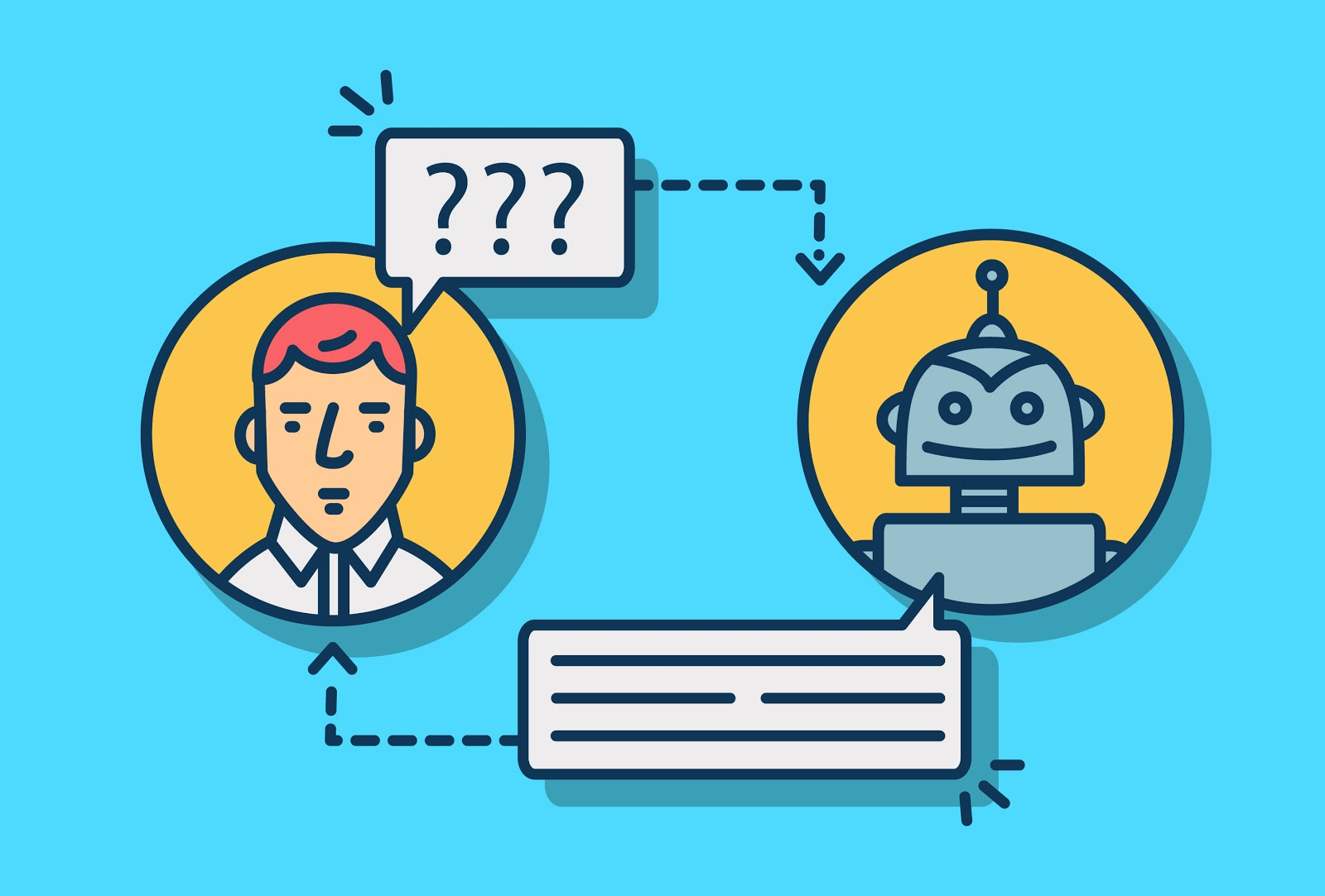 Graphic of person and robot chatting by speech bubbles