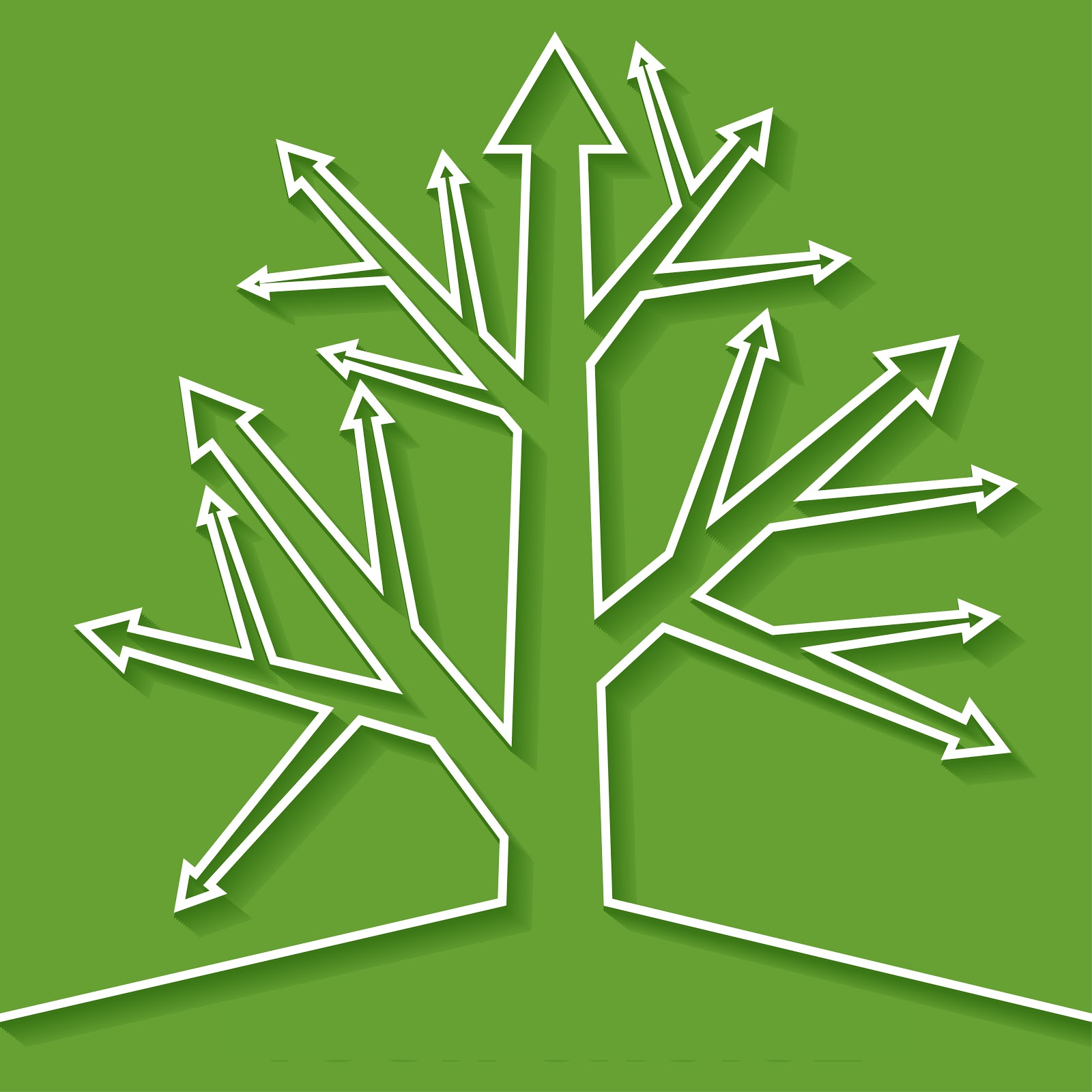 White tree of arrows on green background showing idea of decision trees