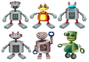 Drawing of 6 different types of robot