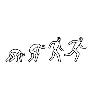 Drawing of 4 persons in 4 positions - like someone starting from starting blocks