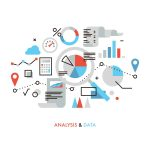 seo data analysis flat design marketing research web analytics business report review vector illustration concept
